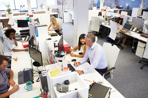People working together in open-concept office space